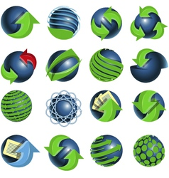 blue balls and green arrows vector image vector image
