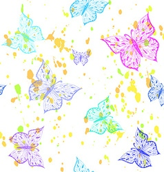 Butterfly seamless pattern Ornamental hand drawn vector image vector image