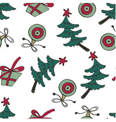 christmas pattern with christmas trees and gift vector image vector image