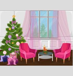 classic livingroom interior with christmas tree vector image