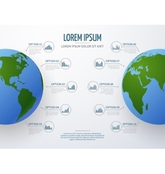 infographic mockup with globe and diagrams vector image vector image