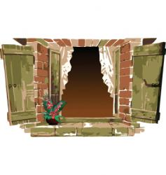 old fashioned window with flower vector image