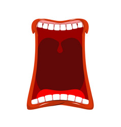 open mouth isolated teeth and tongue hunger yawns vector image