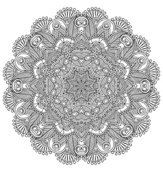 Circle lace black and white ornament vector image