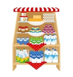 Dairy products on store shelves vector image vector image