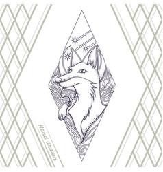 fox tattoo hand drawn black vector image