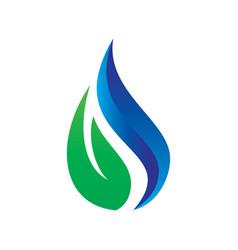 leaf water drop eco logo vector image