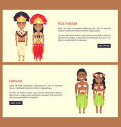 polynesia and hawaii set on vector image