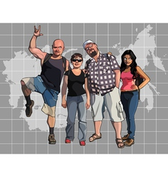 cartoon tourists on the background of a map vector image vector image