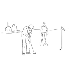 Friends play golf vector image vector image