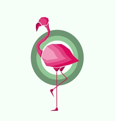 Geometric pink flamingo in outlines vector image vector image