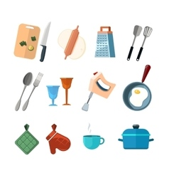 Vintage kitchen tools home cooking icons vector image