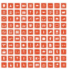100 audio icons set grunge orange vector image