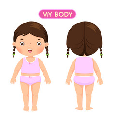 A girl showing parts of the body vector