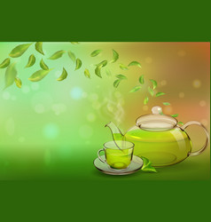 A glass teapot and a cup of green tea on a colored vector