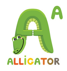 A is for alligator letter a alligator animal vector