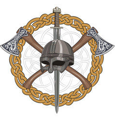 A viking helmet crossed axes and a viking sword vector