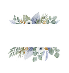 a watercolor winter banner with dusty blue vector image