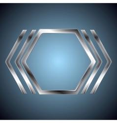 Abstract metallic hexagon shape vector