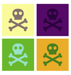 Assembly flat icons halloween skull bones vector