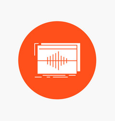 Audio frequency hertz sequence wave white glyph vector