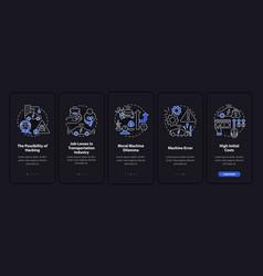 Autonomous cars cons onboarding mobile app page vector