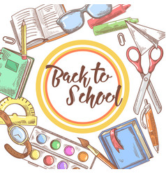 back to school hand drawn background educational vector image vector image