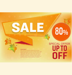 banner sale special offer for autumn leaves vector image