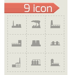 black factory icon set vector image