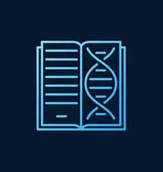 book with dna genetics outline blue icon or vector image