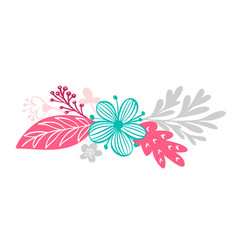 bouquet flowers and floral elements isolated on vector image