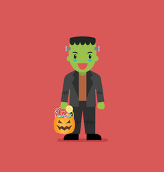 boy with pumpkin basket dressed in green zombie vector image
