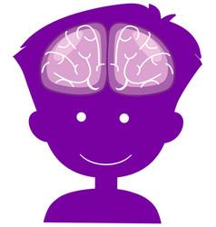 Brain sign in heads boy in world alzheimers day vector