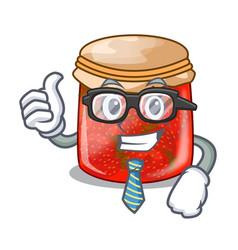 Businessman strawberry marmalade in glass jar of vector