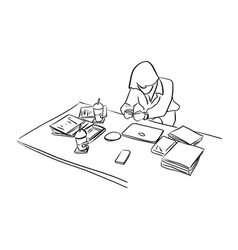 businesswoman using mobile phone on her desk vector image