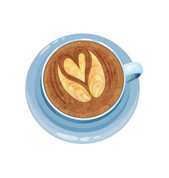 cappuccino cup with hands and heart design on top vector image