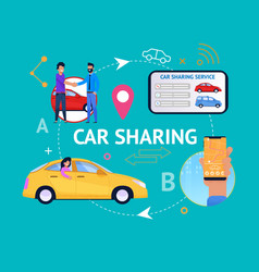 car sharing service cycle infographics vector image