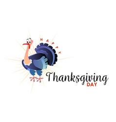 cartoon thanksgiving turkey character autumn vector image