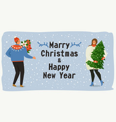 christmas and happy new year templatetrendy retro vector image