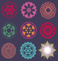 Collection esoteric flower elements vector