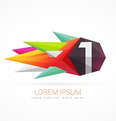 Colorful abstract logo with number 1 vector