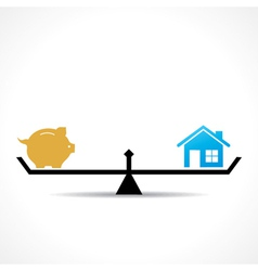 compare money and home concept vector image
