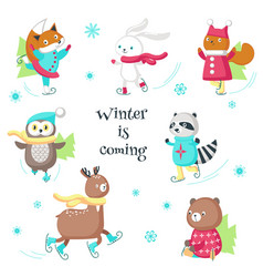 Cute animals ice skating isolated vector