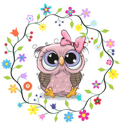 Cute owl in a flowers frame vector