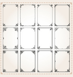 decorative frames and borders rectangle set 7 vector image