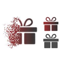 Disintegrating pixelated halftone gift icon vector