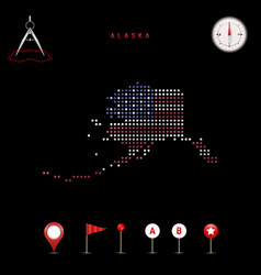 Dotted map alaska painted in american flag vector