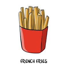 Drawing french fries vector