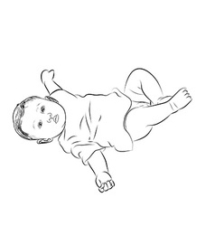Drawing of baby lying with turning face up vector