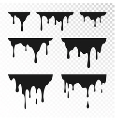 Dripping paint set liquid drips black ink runs vector